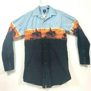 Panhandle Slim Western L/S Pearl Snap Shirt Size M